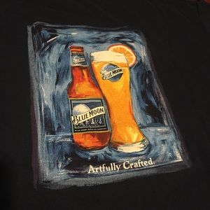 Blue Moon Beer Graphic Shirt Artwork Painting Rare